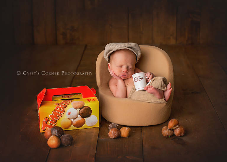 Buffalo Newborn Photographer - Tim Hortons Timbits and Newborn Baby Boy by Gypsys Corner Photography