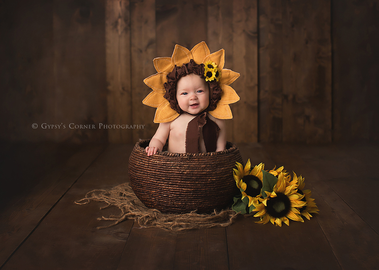Children Photography Session - 6 Month Milestone Baby Sunflower by Gypsys Corner Photography