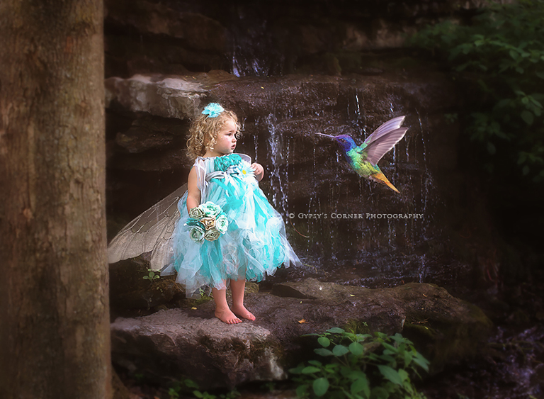 Best Buffalo Children Photographer -Little Fairy girl meeting a Hummingbird by Gypsy's Corner Photography in Buffalo NY