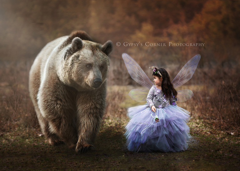 Fairytale Photography Session - Woodland Fairy and Bear by Gypsys Corner Photography