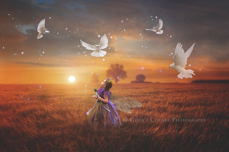 Fairytale Photography Session - Little girl fairy in a field with flying doves by Gypsy's Corner Photography-18FB