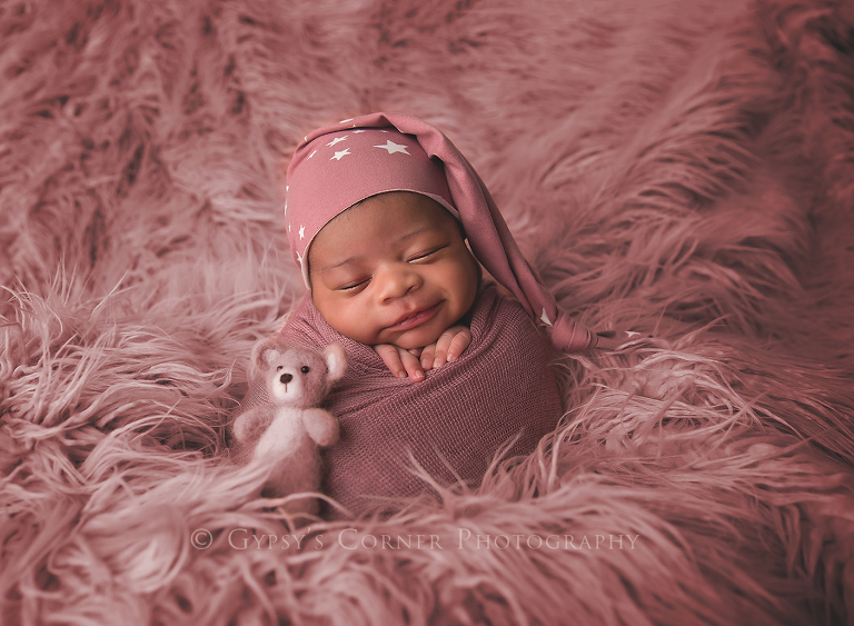 Newborn Photography Session - Baby girl in pink with star sleepy hat by Gypsy's Corner Photography-1FB