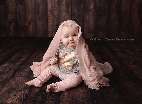 Sweet Baby Girl with pink scarf