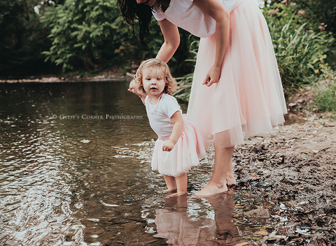Child Portrait Photographer in Buffalo | Toddler girl at a creek