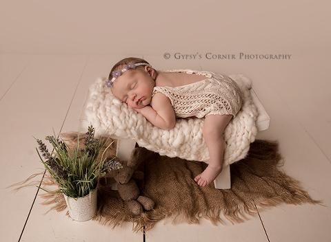 Buffalo NY Newborn Photography - Baby girl in cream